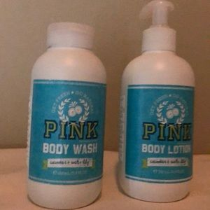 Pink Victoria's Secret body wash and body lotion
